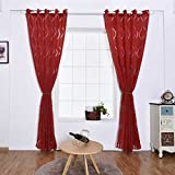 lidahaotin Vagues fenêtre Rideau Panneau de séparation Sheer Semi-Blackout Stores Bureau Salon Chambre Tentures 100 * 200/250 Rouge 100 * 250cm