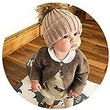 Kingko® Newborn Cute Winter Kids Baby Hats Knitted Hemming Skullies Beanies Hat (2017 New Khaki)