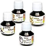 Kit 4 aromas alimentarios naturales para pastelería - almendra-vainilla-coco-pistacho