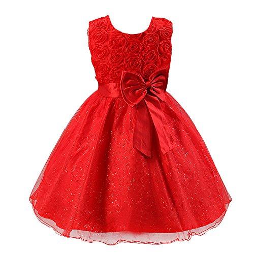 """Free Fisher Baby Mädchen """"Prinzessin""""-Kleid Ärmellos, Rot Schleife, Gr. 6-12 Monate"""
