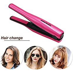 Mermaid Fer à lisser professionnel lisseur cheveux céramique, Portable mini sans fil USB chargeur curler fixer le style rapide, bon pour le voyage (rose rouge)