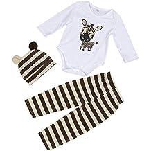 Bestow 3 Piezas Sombrero Mameluco Pantalones Pantalones Equipar Ropa Conjunto (18M, café)