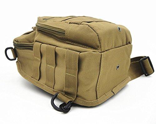 Tactical una borsa a tracolla militare petto Sling borsa a tracolla, zaino per campeggio, escursioni, trekking, viaggi zaino, Sand Camo Tan