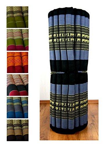 Kapok Liegematte der Marke Asia Wohnstudio, 200cm x 110cm x 4,5cm; Rollmatte bzw. Yogamatte, Thaimatte, Thaikissen als asiatische Rollmatratze (blau / Elefanten)