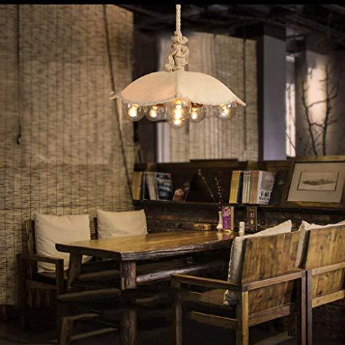 Kronleuchter Deckenleuchte Rustikale Vintage Sackleinen Stoff Schatten Kreative Regenschirm Design 6 Köpfe runde Kugel Glas Lampenschirm Hanfseil Anhänger Hängelampe für Tisch Haus Top Bar Resta (Sackleinen-anhänger-beleuchtung)