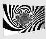 Leinwand 3tlg 3D Effekt Spirale Hintergrund schwarz weiß Linien abstrakt Kunst Bild Bilder Leinwandbild Leinwandbilder 9X1074, 3 tlg BxH:120x80cm (3Stk 40x 80cm)