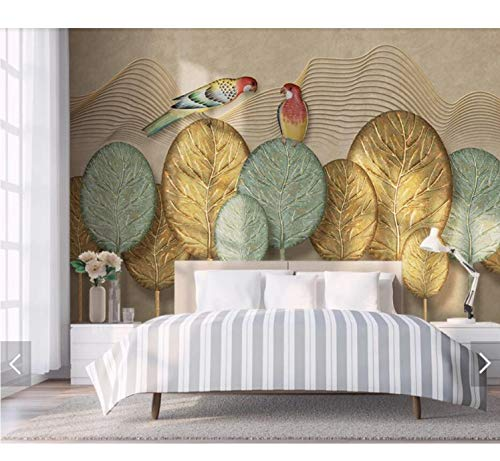 Gold Leaf Wallpaper (Zlywj Handgemalte Gold Tree Leaf Papagei Wallpaper Wandbild Wall Decor Wall Paper Rolls 3D Wandbilder Kontaktpapier Tapete Tapetenkleister)