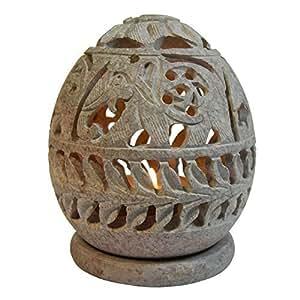 Porte-bougie Lumignon ovale pour bougie chauffe-plat en Stéatite pierre à savon Éléphants en rangée Plantes grimpantes Artisanat indien