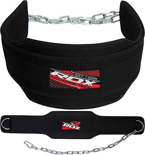 Leder-dip (RDX Dipgürtel mit Kette Gewichtsgürtel Klimmzüge Trainingsgürtel Neopren Bodybuilding Crossfit Fitness Krafttraining weightlifting Dip Belt)
