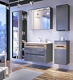 Galaxy Badmöbel-Set/Badmöbelanlage/Komplettbad 6-teilig in Graphit Hochglanz/Blenden Holzdekor, Waschtisch 80 cm, LED-Beleuchtung
