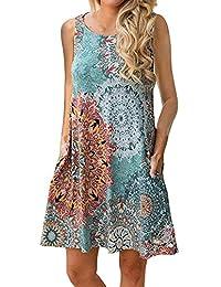 Abravo Mujer Vestido Camiseta Estampado Floral Manga Larga Vestido Casual Corto Playa con un Bolsillo