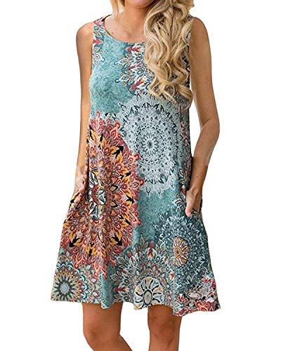 ABRAVO Sommerkleid Damen T-Shirt Kleider Casual Lose Tunika Kurzarm Boho Ärmellos Blumen Strand Kleider mit Taschen