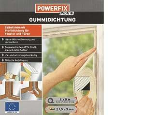 POWERFIX Gunnidichtung Profildichtung für Fenster und Türen weiss 9mm x 3,5 mm, 10 meter