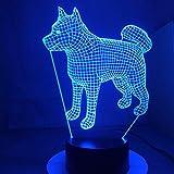La lampada da scrivania cambiante della lampada 3d dello scrittorio giapponese Akita Samoyed del cane americano ha condotto le luci notturne