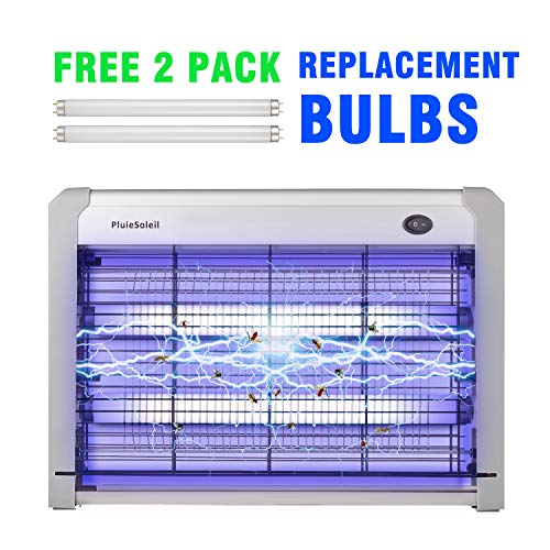 PluieSoleil - Trampa de Mosquitos, lámpara eléctrica UV antimoscas, destructora de Insectos no tóxica, 20 W, LED con 2 Tubos de Recarga incluidos, Color Blanco