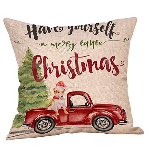 Floweworld Weihnachten Dekorative Kissenbezüge Baumwolle Leinen Kissen Platz Kissenbezug für Zuhause Sofa Couch Bett Auto Dekoration