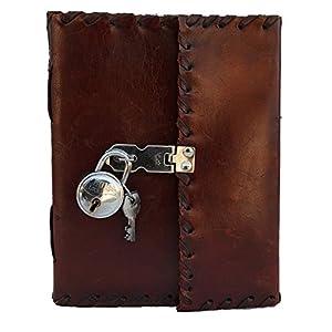 Cuaderno diario de cuero genuino hecho a mano con cerradura real y llave para niñas, poetas, escritores artistas, bonito…