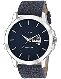 Laurels Blue Color Day & Date Analog Men's Watch With Strap: LWM-INC-VI-030307