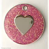 Personalised DOG CAT LOVE HEART PINK Glitter Identity ID Pet Tag Engraved