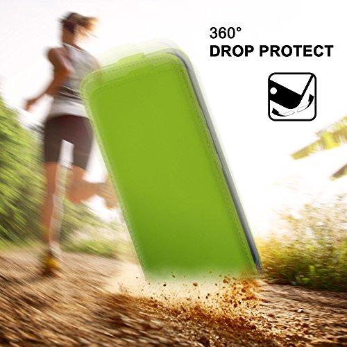iPhone 5C Hülle Schwarz [OneFlow 360° Klapp-Hülle] Etui thin Handytasche Dünn Handyhülle für iPhone 5C Case Flip Cover Schutzhülle Kunst-Leder Tasche LIME-GREEN