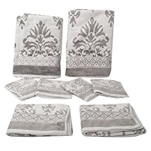 Big Bazaar Elegance Jacquard Bath Towel Set, 8 Pieces, Color may vary