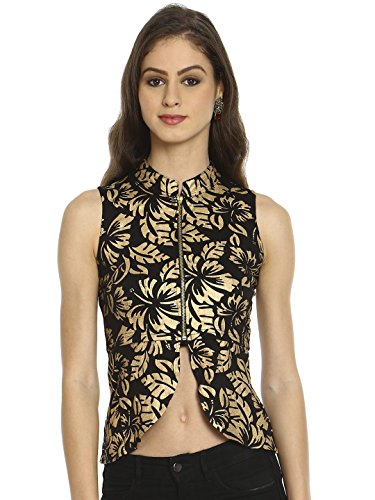 Ira Soleil Women's Polyester Stretch Knit Foral Printed Crop Jackket (S, Black)