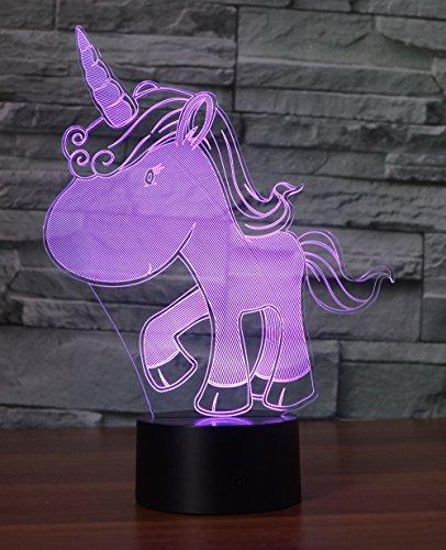 Einhorn Lampe Hologramm 3d Lampe Nachttischlampe, Nachtlicht fürs Kinderzimmer, LED Lampe fürs...