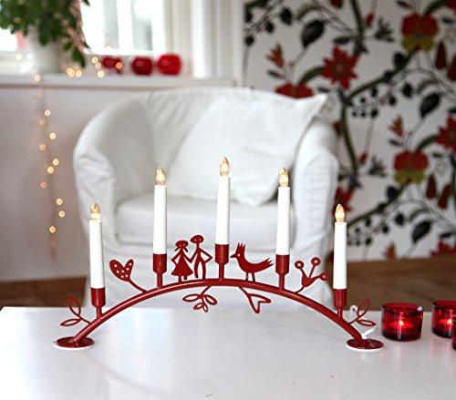 Best Season 181-45 Corazon - Lámpara para el alféizar (5 velas de luz LED, 29 x 49 cm aprox.), diseño de candelabro, color rojo