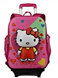 Di Grazia Hello Kitty Hardshell Travel School Backpack and Trolley Luggage Suitcase Bag (2 in 1 Convertible), 2 Wheels School Bag For Kids