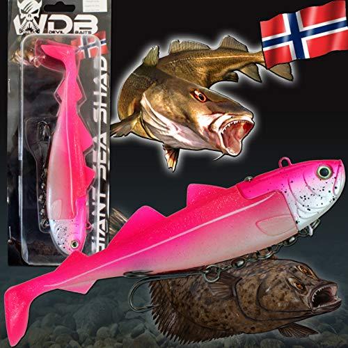 Angel-Berger Wild Devil Baits Giant Sea Shad Heilbutt Seelachs Köder Meeresangeln (Hot Pink, 333g / 21,5cm)
