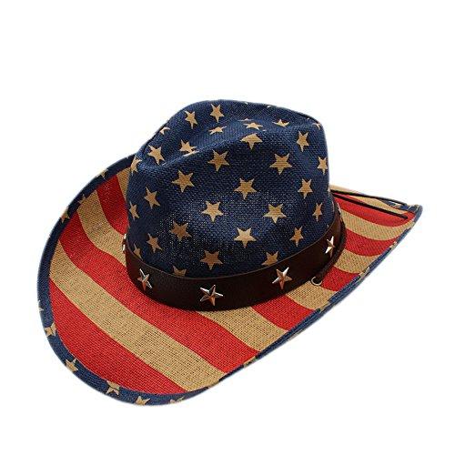 r Hollow Western Cowboy Hut Gentleman Cowgirl Jazz Kappe Papa Königin Sommer Strand Sonnenhut (Color : Multi-colored, Size : 58CM) (Cowboy Kostüm Diy)