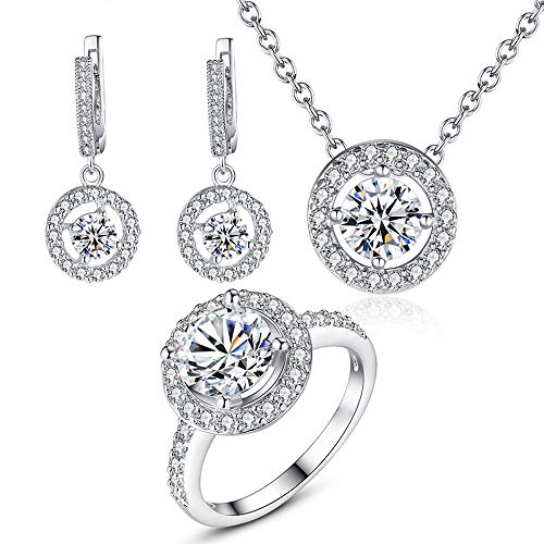 LLYY Schmuck-Set, Frauen Hochzeit Halskette Ohrringe Ring Brautschmuck/Luxus-Kristall Ringe Halskettensatz Jewellery Set(3pack-Set)