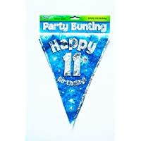 Happy 11th Birthday Flag Bunting Age Boys Blue Pennant Banner Party Decorations