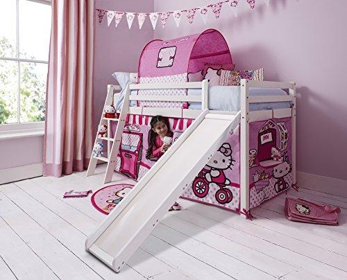 Hochbett Mit Zelt (Northshore Hello Kitty Kinder-Hochbett mit Zelt und Rutsche, Hochglanz-Weiß)