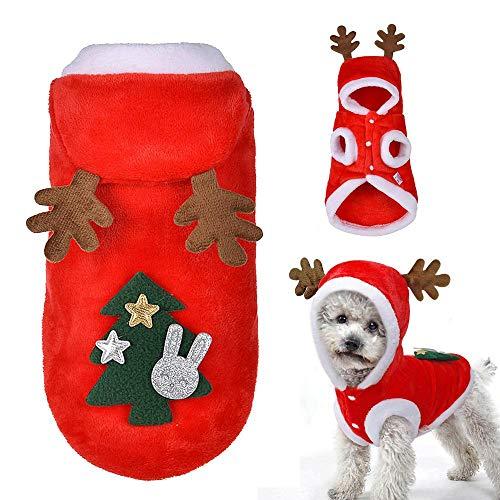 Hundekostüm Elch Santa mit Kapuze, leegoal Sweatshirts für Kleine Hunde, Katzen, Welpen, S (View amazon detail page)