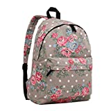 Butterfly Flower Polka Dot Retro Fashion Backpack Rucksack (Floral Grey)