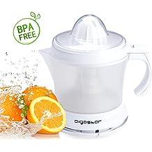 Aigostar Morgen 30HIM - Exprimidor eléctrico con 2 conos exprimidores intercambiables, filtro regulable de pulpa y 30 W de potencia. Color blanco, capacidad 1 litro. Libre de BPA. Diseño exclusivo.