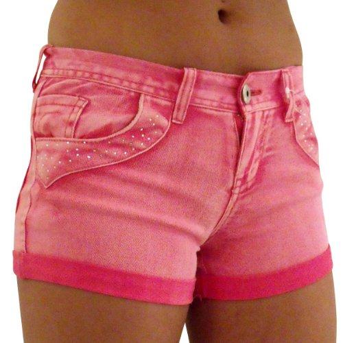 Damen Sexy Denim Hotpants Strass Shorts Hose Damen Bling Shorts Größe 8-14 Rosa