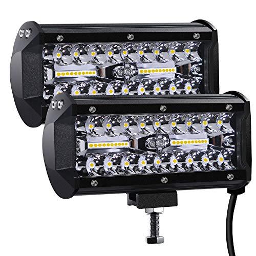 Faro da Lavoro Led, 7'' Cree Barra LED Fuoristrada Fari Led 300W 27,000lm Fari di Profondità Impermeabile IP67 Luci di Lavoro Fuoristrada per Moto Auto ATV SUV Trattore, 6500K, (2 PCS)