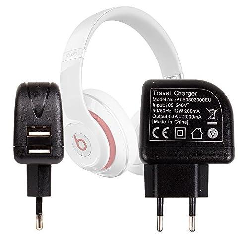 Chargeur secteur USB 2 amp pour Beats by Dr Dre Studio Wireless et Solo 2 casque audio Bluetooth - charge rapide, par