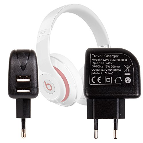 Duragadget Chargeur Secteur USB 2 amp pour Casque Audio Samsung U Flex et écouteurs Samsung Level on EO-PN920 - Charge Rapide