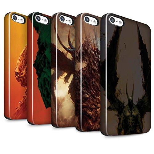 Offiziell Chris Cold Hülle / Glanz Harten Stoßfest Case für Apple iPhone SE / Teufel/Tier Muster / Wilden Kreaturen Kollektion Pack 6pcs