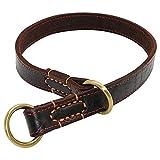 XIAOLANGTIAN Leder Hundehalsband Durable P Choke Hundehalsbänder Einstellbar Für Mittelgroße Hunde Pitbull Labrador M-XL, Braun, M