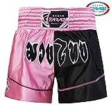 Farabi Sports Pantaloncini da Boxe per Muay Thai, Kick Boxing, Arti Marziali, Rosa e Nero, Taglia XS