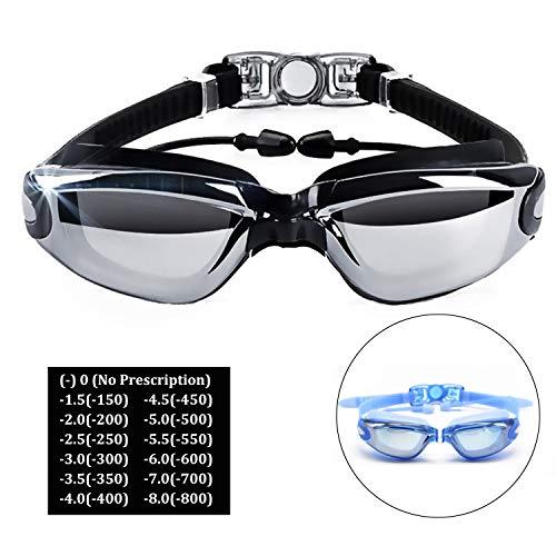 Hersvin Kurzsichtig Schwimmbrillen (0 bis -800) Kurzsichtigkeit UV400 Anti-UV Anti Nebel Sehstärke Schutzbrille mit Abnehmbare Nasenbrücke für Erwachsene Männer Frauen Kinder Damen (0)