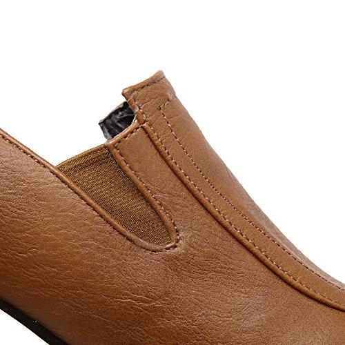 AgooLar Femme Matière Mélangee Rond à Talon Correct Tire Couleur Unie Chaussures Légeres Jaune