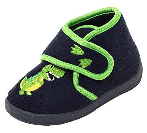 Jungen Fleece Hausschuhe Klettschuhe Puschen Pantoffeln Slipper Schuhe mit Klettverschluss und Fester Sohle Gr. 24 Dino Dinosaurier schwarz grün