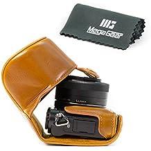 """MegaGear """"Ever Ready"""" funda protectora de cuero de la cámara, bolsa para Panasonic Lumix DMC-GM5 con lente de 12-32mm (Marrón claro)"""