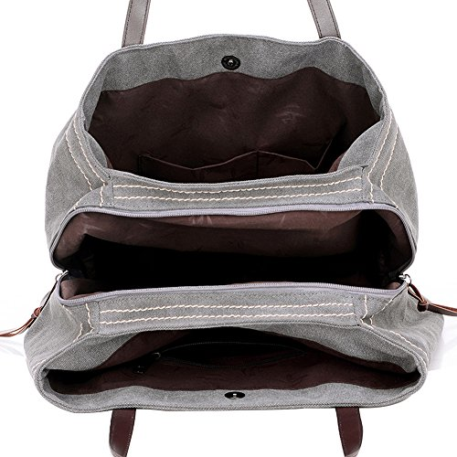 PB-SOAR Damen Vintage Canvas Drei Layer Schultertasche Handtasche Shopper Einkaufstasche Beuteltasche Freizeittasche mit großer Kapazität , 7 Farben auswählbar (Weiß) Dunkel Lila