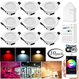 10 LED Incasso Rotonda Downlight Intelligente 5W 220-240V, 350LM,wifi Bluetooth APP Control,pannello,Dimmerabile Bianco Freddo Luce Caldo+Multicolore RGB+CCT,funziona con Alexa e Google Assistant